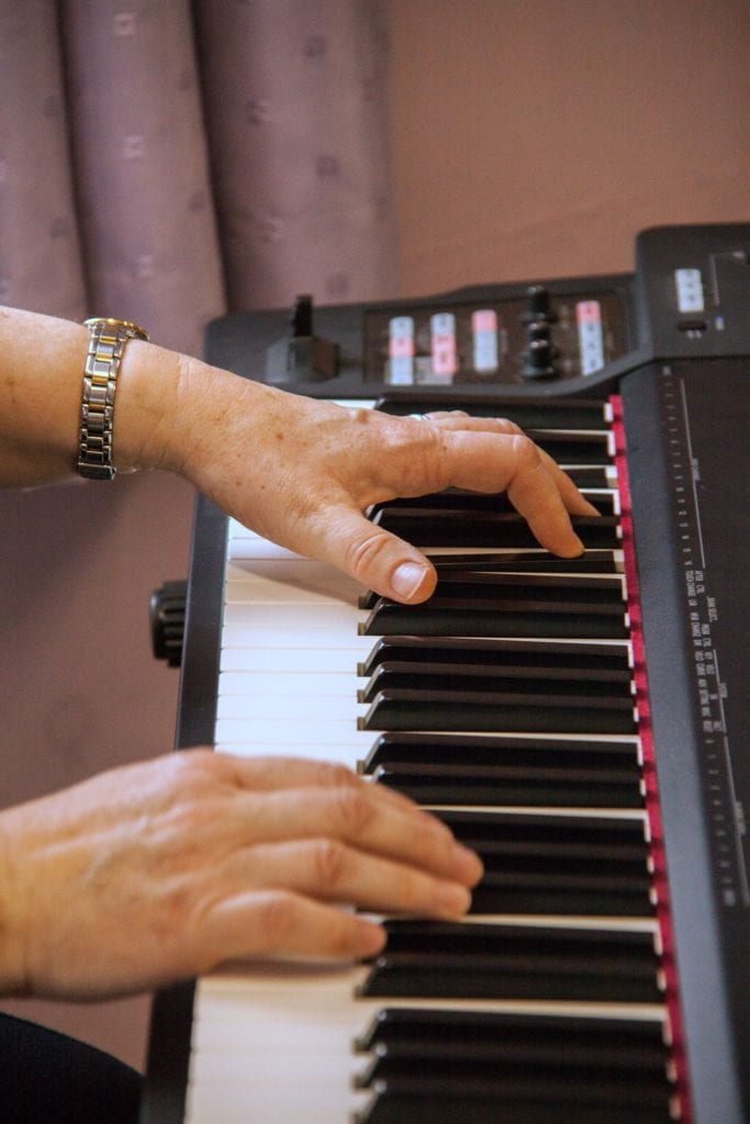 Ruth plays a Roland Stage Piano